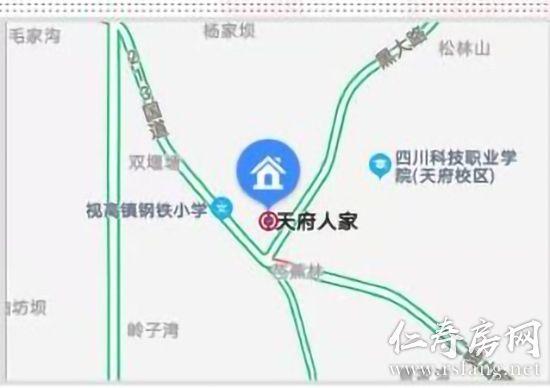 中国银行仁寿视高支行区位图。